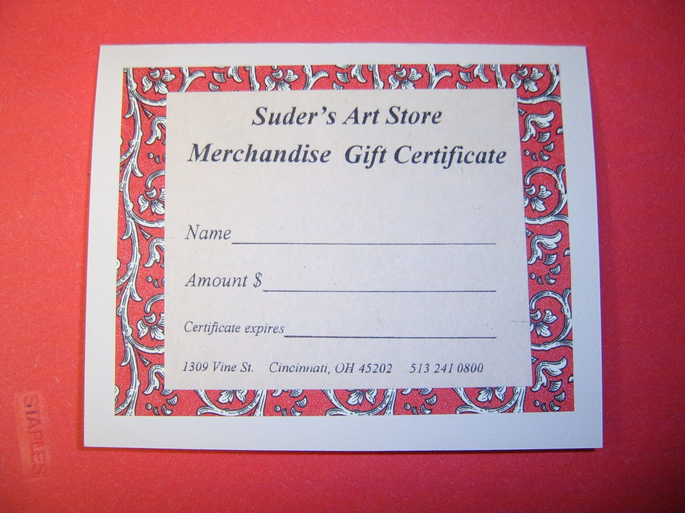 Suders Gift Certificates